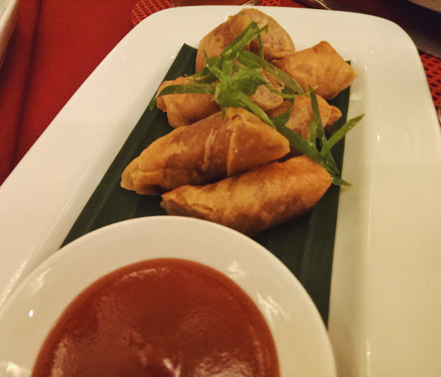 Now, here are the spring rolls!