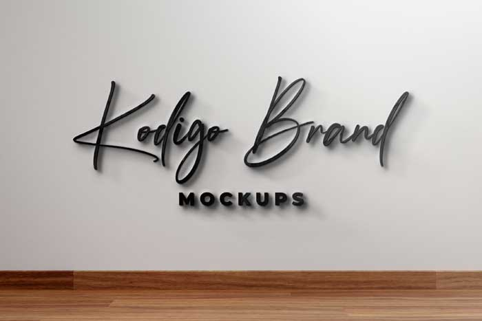 Front Wall With Black Glass Logo Mockup