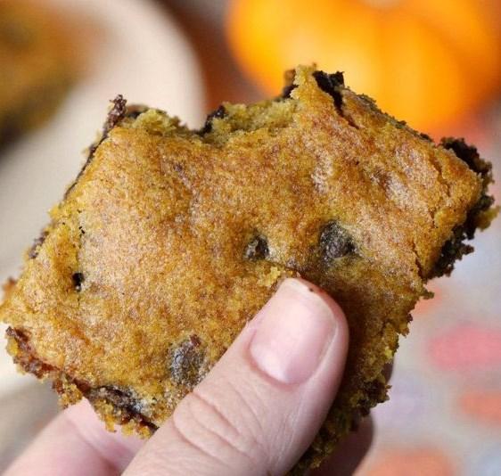 Delicious Pumpkin Chocolate Chip Bars #desserts #pumpkindessert