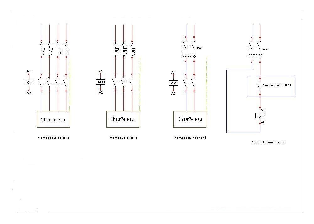 Schémas de branchement du contacteur chauffe-eau