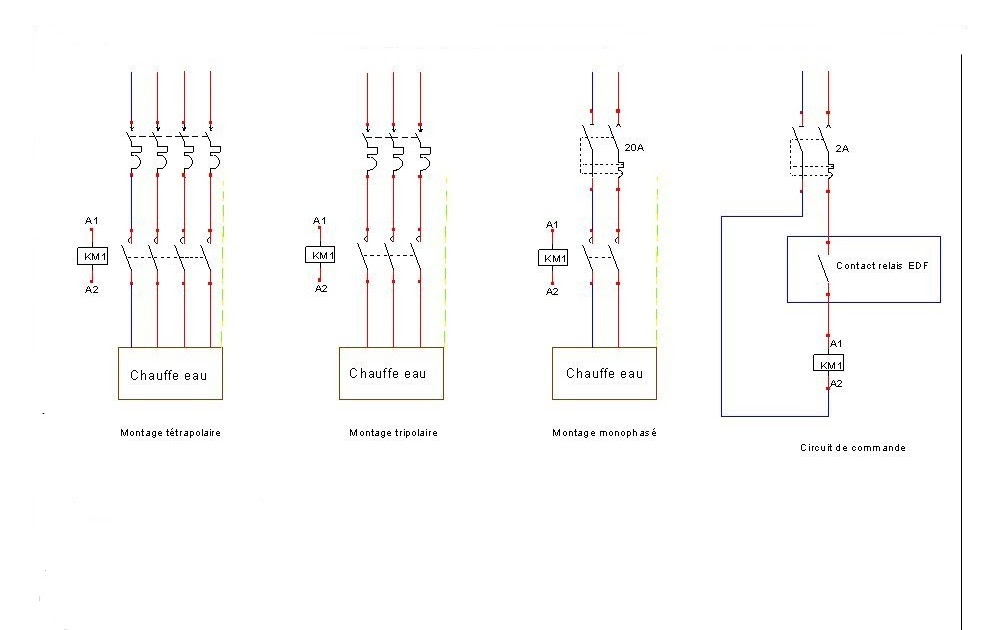 sch mas de branchement du contacteur chauffe eau t trapolaire tripolaire et monophas schema. Black Bedroom Furniture Sets. Home Design Ideas