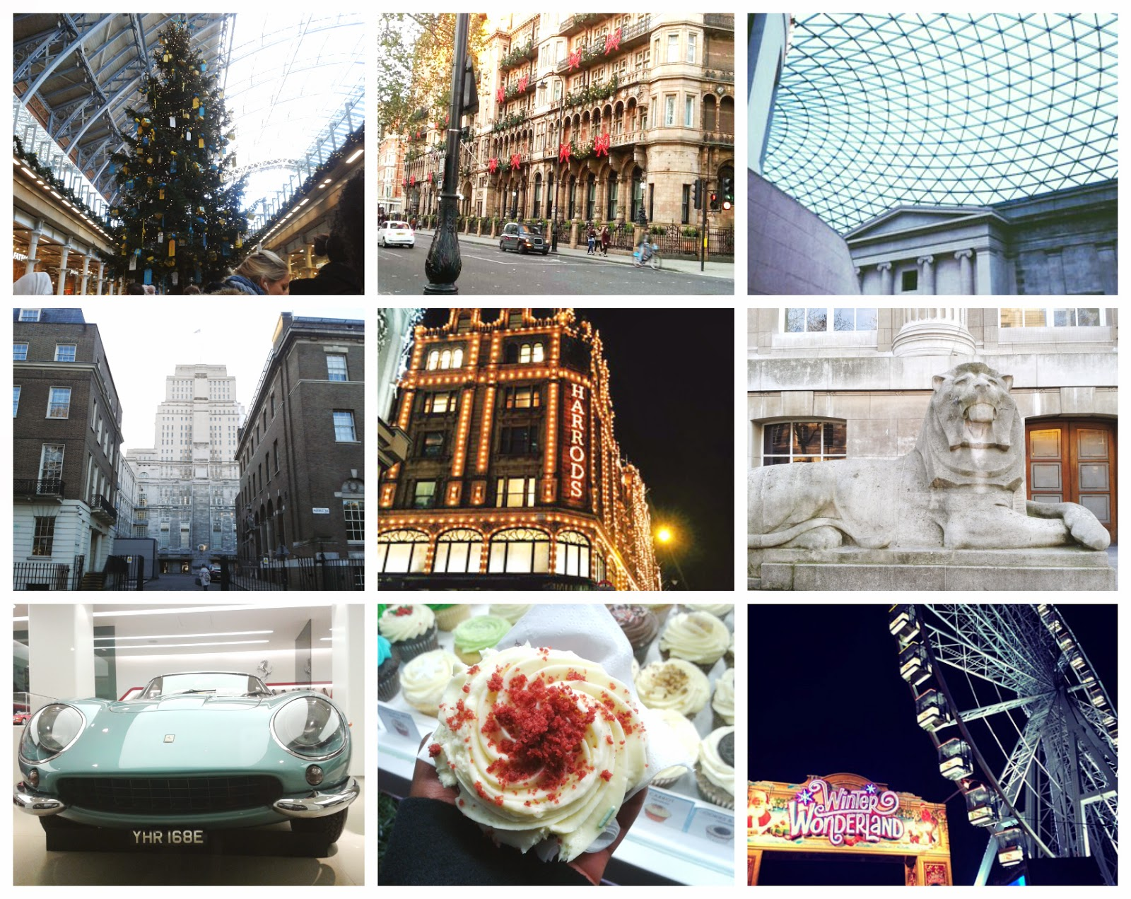 A collage of festive displays around London