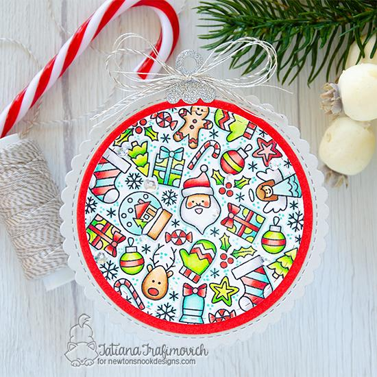 Christmas Ornament shaped card by Tatiana Trafimovich | Christmas Roundabout Stamp Set, Circle Frames Die Set, and Ornament Shaker Die Set by Newton's Nook Designs #newtonsnook #handmade