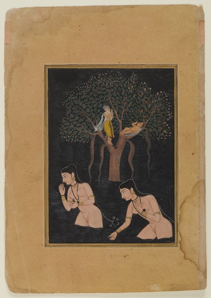 Gopis Bathing - Miniature Painting, India, Circa 1610