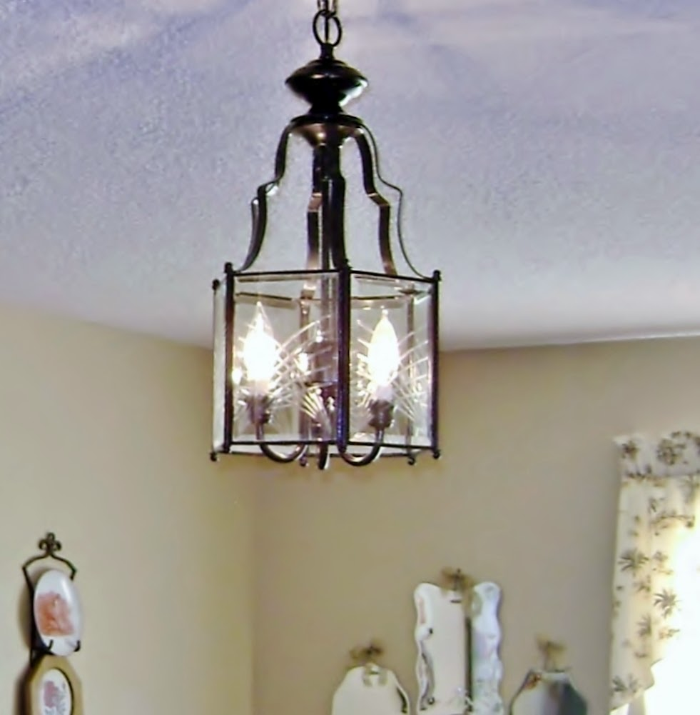 Painted Light Fixture With Lights Burning