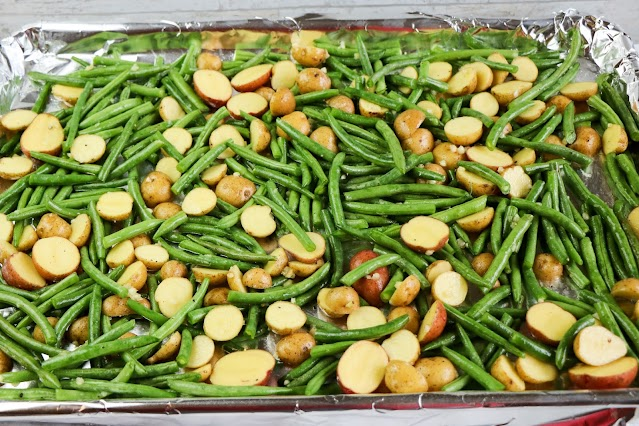 raw vegetables on a baking sheet