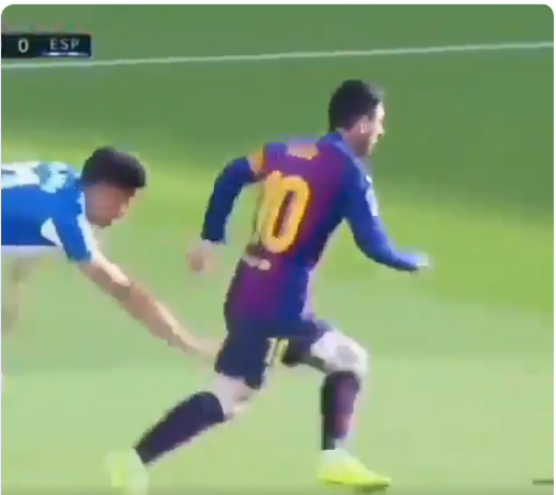 Barcelona 2-0 Espanyol: Lionel Messi Dribbles An Espanyol Player, Fans React