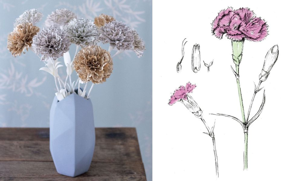 Instructions for making a bouquet of paper flowers