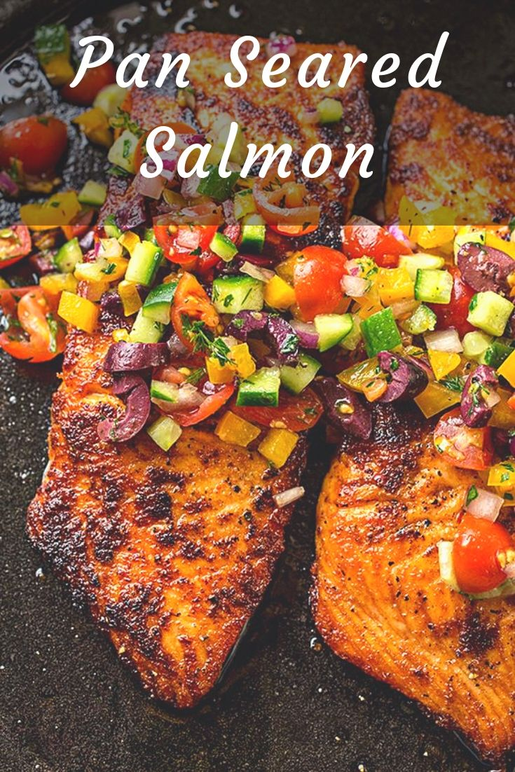This succulent pan seared salmon is wonderfully simple to prepare, topped with a cool and colorful Mediterranean salsa fresca.