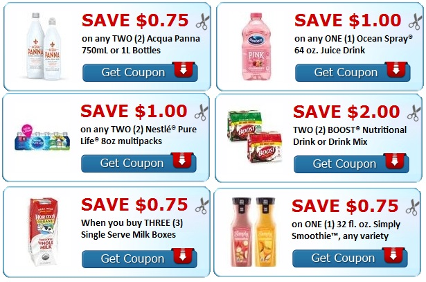 Print Nestle, Milk, Boost, Ocean spray Coupons