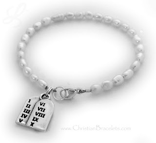 Youth Freshwater Pearl 10 Commandments Charm Bracelet