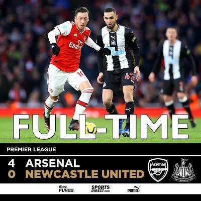 Arsenal 4-0 Newcastle, Aubameyang, Lacazette, Ozil, And Pepe On Target (Video Highlight)