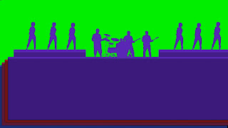 A silloette of a Band and Dancers on a stage against a green background. Free Download.