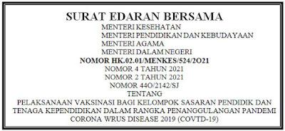 SEB 4 Menteri Tentang Pelaksanaan Vaksinasi PTK