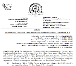 SSC CPO 2019 Recruitment Notification Released
