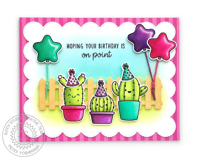 Sunny Studio Hoping Your Birthday is On Point Cactus Card (using Looking Sharp & North Pole Stamps, Picket Fence Die, Frilly Frames Eyelet Lace Die & Sleek Stripes Paper)