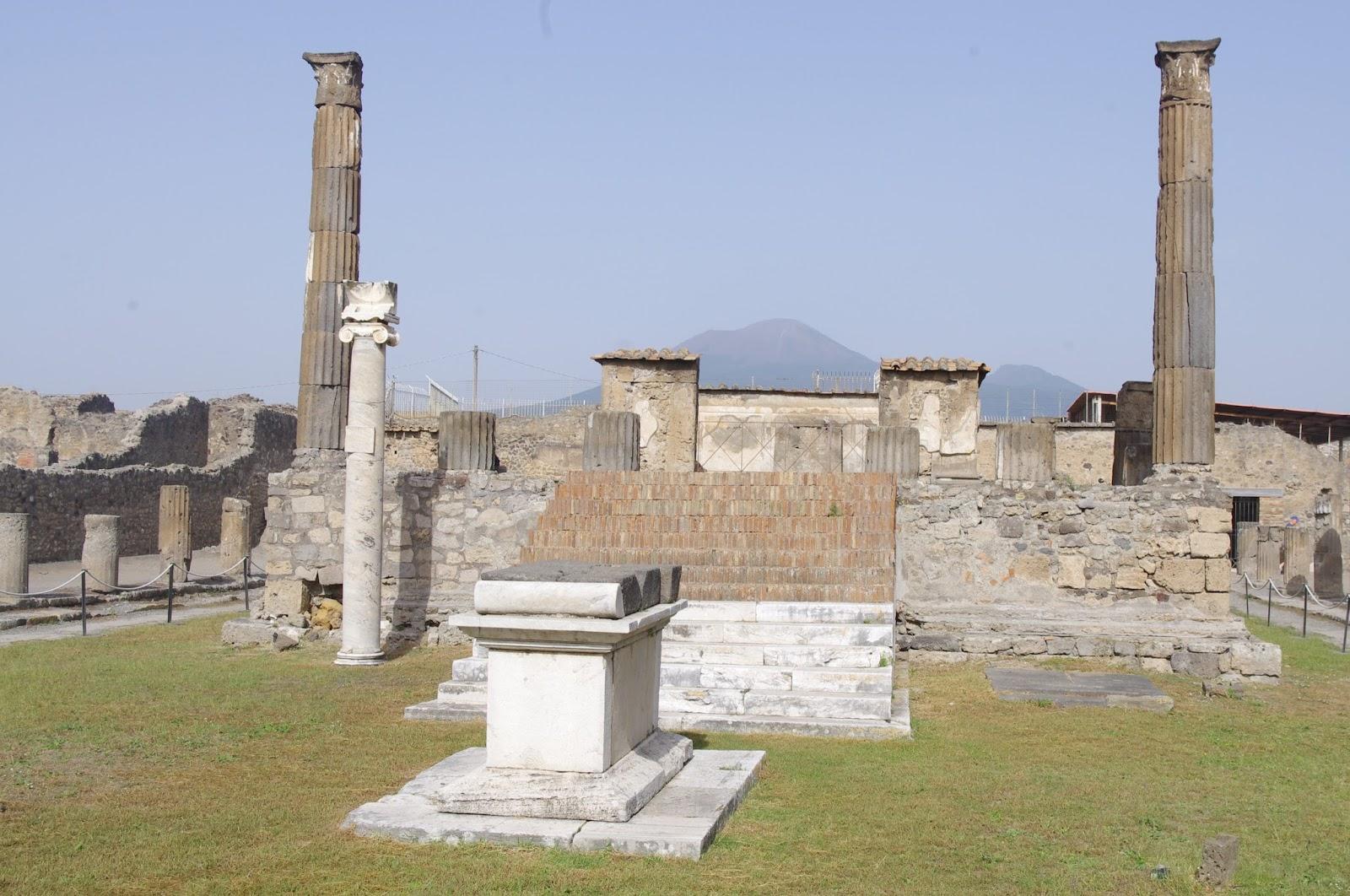 Ruins in Pompeii with Mt Vesuvius in background