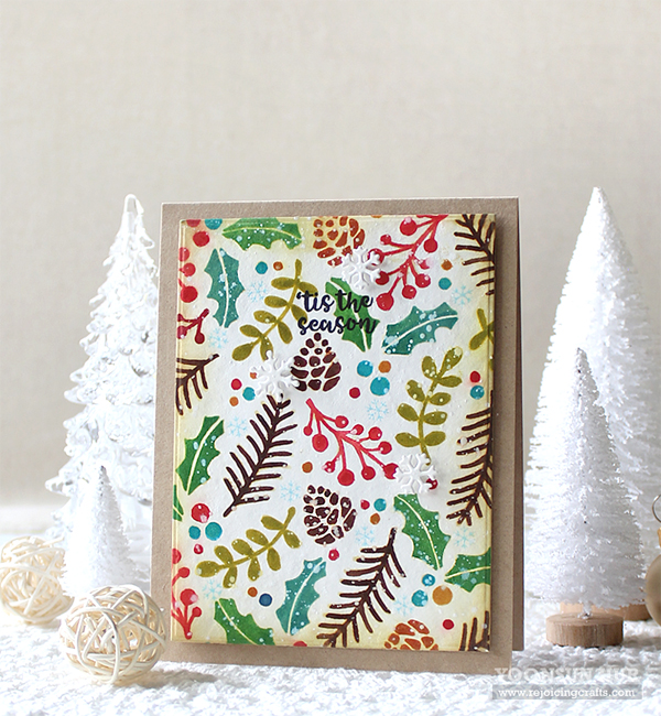 Deck the Halls with Inky Paws - Day 3 - Yoonsun Hur | Holiday Foliage Stencil by Newton's Nook Designs #newtonsnook