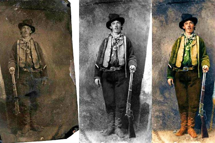 Billy The Kid'in bu fotoğrafı 1880 senesinde New Mexico'daki Fort Sumner kasabasında bulunan bir barın önünde çekilmişti.