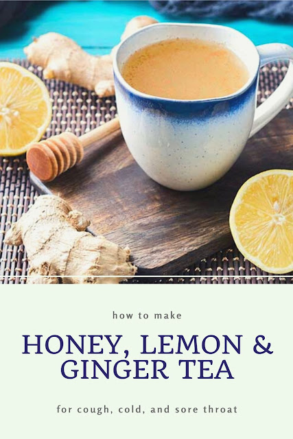 How to make a honey, lemon, and ginger tea recipe. Use this recipe for colds, for cough, and for sore throat. This easy natural remedy has the benefits of lemon, ginger, and honey.  Use fresh ginger for best results in this DIY homemade tea drink.  #ginger #lemon #honey #tea #recipe