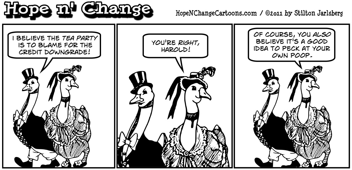 Obama Whitehouse blames Tea Party for credit downgrade, hopenchange, hope and change, hope n' change, stilton jarlsberg