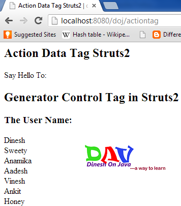 Struts 2 Action Tag Example
