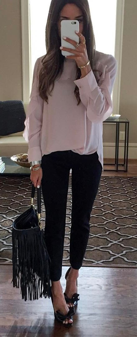 office style perfection: blouse + bag + pants
