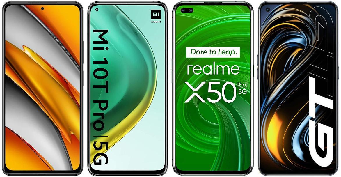 Xiaomi POCO F3 vs Xiaomi Mi 10T Pro vs Realme X50 Pro vs Realme GT
