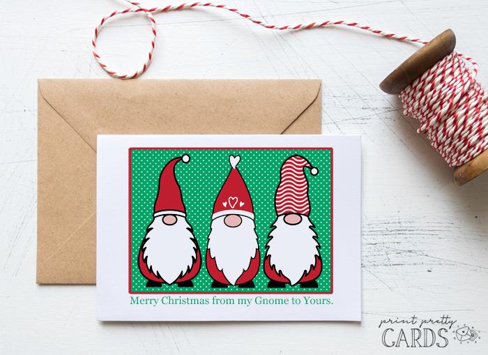 Printable Gnome Christmas Cards