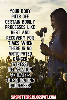 Your body puts off certain bodily processes like rest and recovery for times when there is no anticipated danger (stress). Relaxation activates these healing processes.