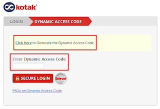 Kotak Mahindra Bank Dynamic Access Code Generation Page