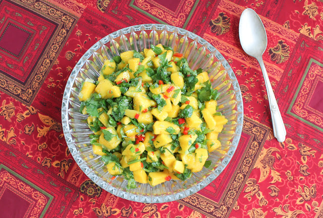 Food Lust People Love: This spicy mango salsa is a party in your mouth, with sweet, ripe mangoes, tart lime juice and hot peppers. It's best friends with fish and chicken.