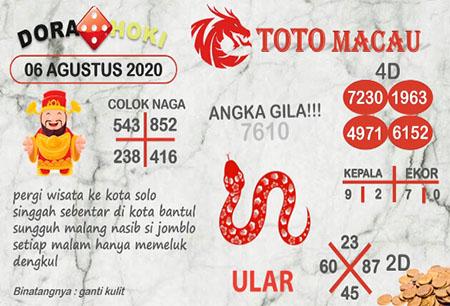 Prediksi Dora Hoki Toto Macau Kamis 06 Agustus 2020