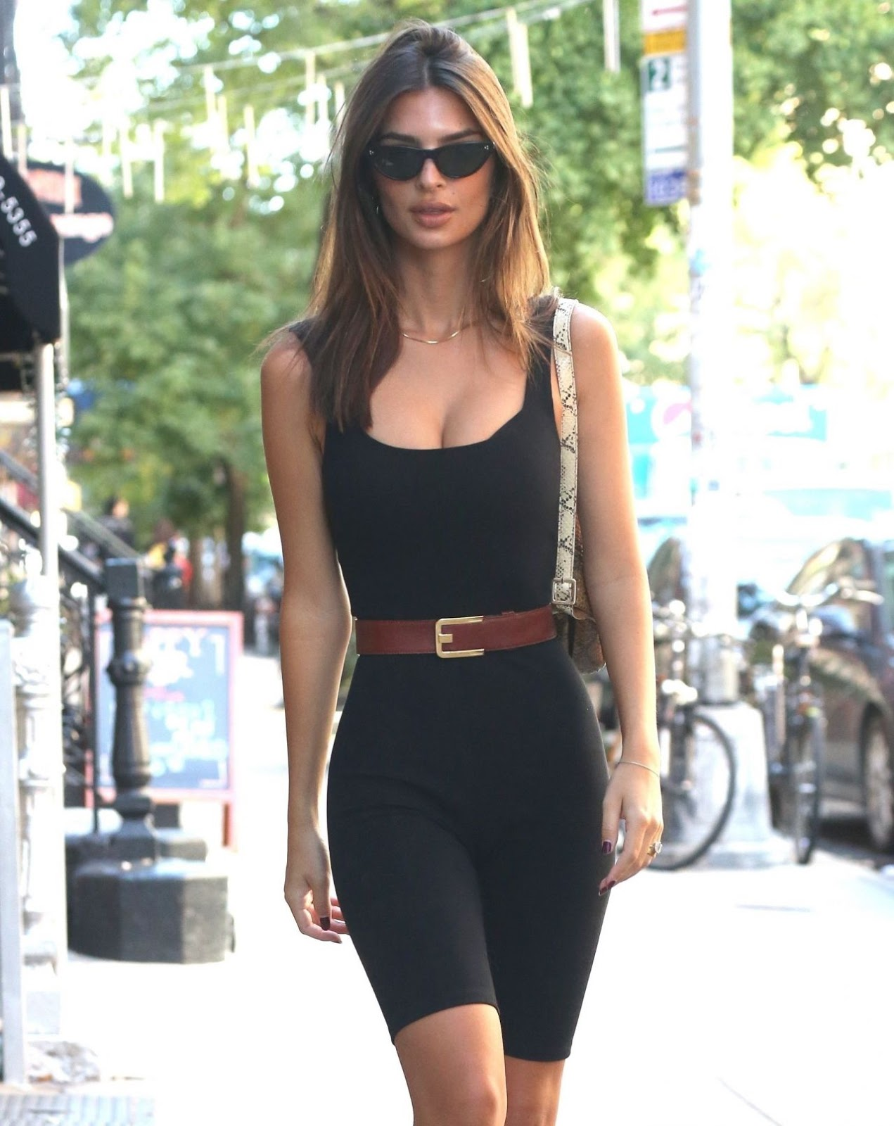 Emily Ratajkowski puts sultry figure on show in spandex jumpsuit