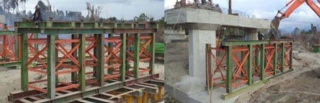 Pemasangan cross beam dan slipper beam