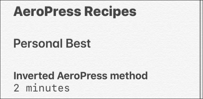 أنماط النص في تطبيق Notes