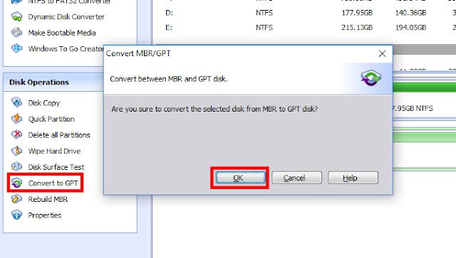 Cara Merubah Partition HDD GPT ke MBR