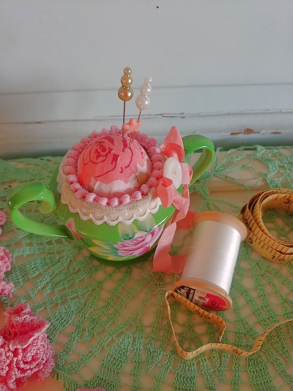 vintage sugar bowl pincushion