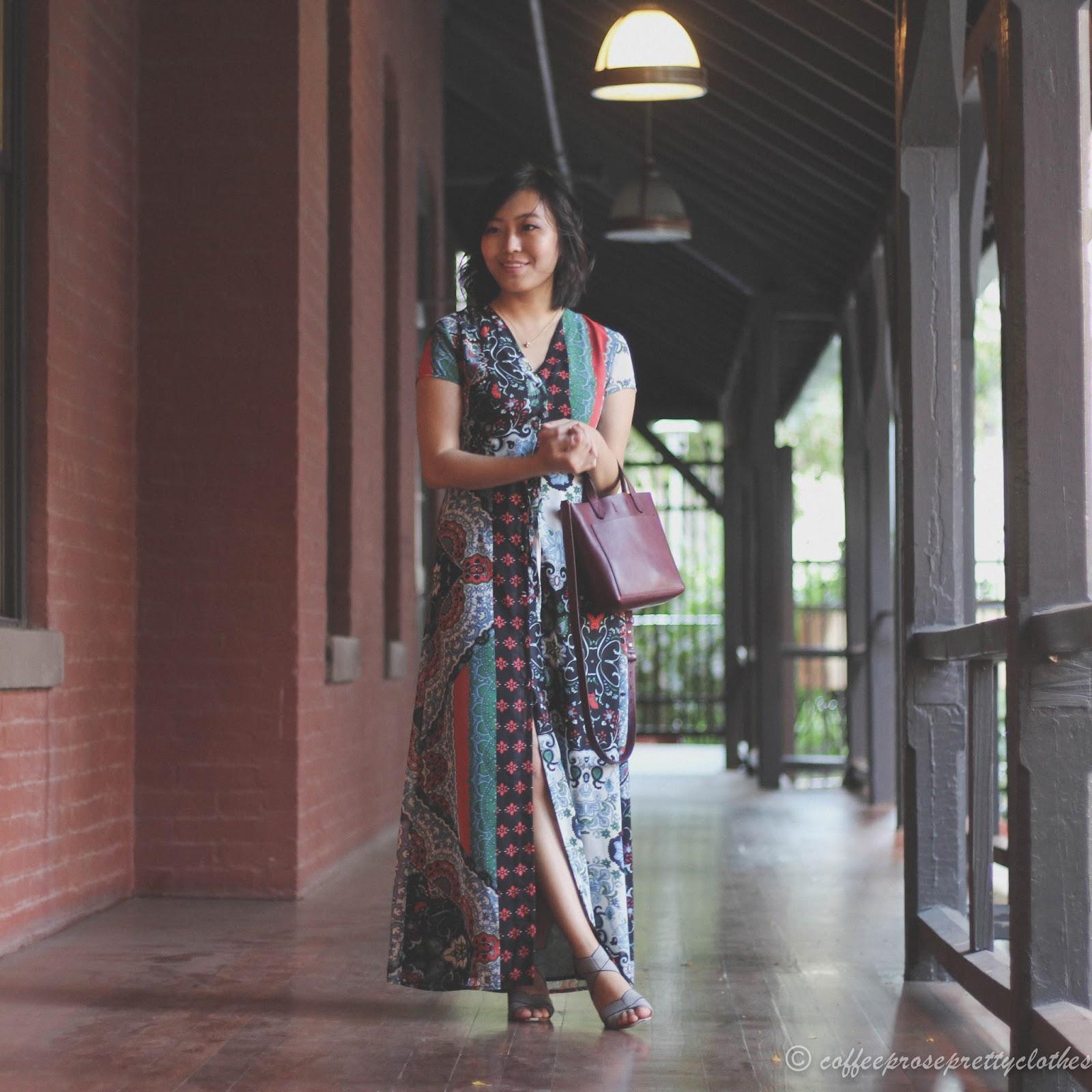 Madewell Transport bag, ASOS maxi dress, Sole Society Joesy