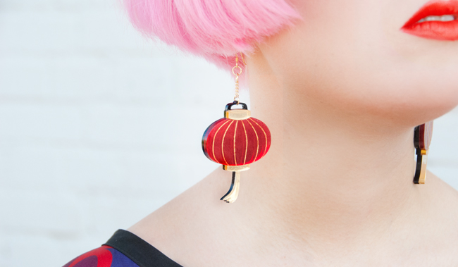 La Vidriola, Chinese Lantern Earrings, Perspex Jewellery