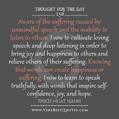meaningful quotes: aware of the suffering caused by unmindful speech