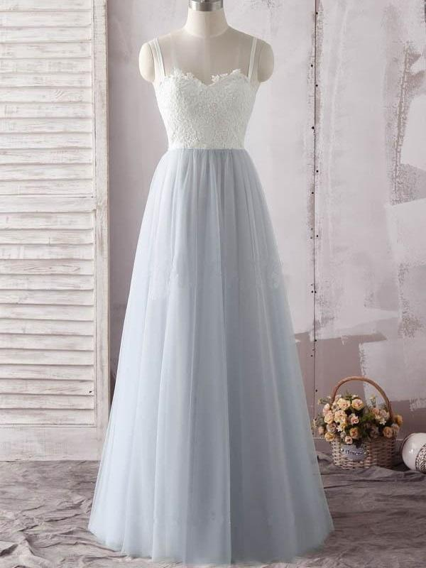 A line Tulle White  sweetheart neck Prom Dress