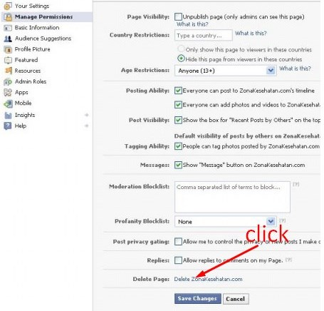 how to delete my facebook page