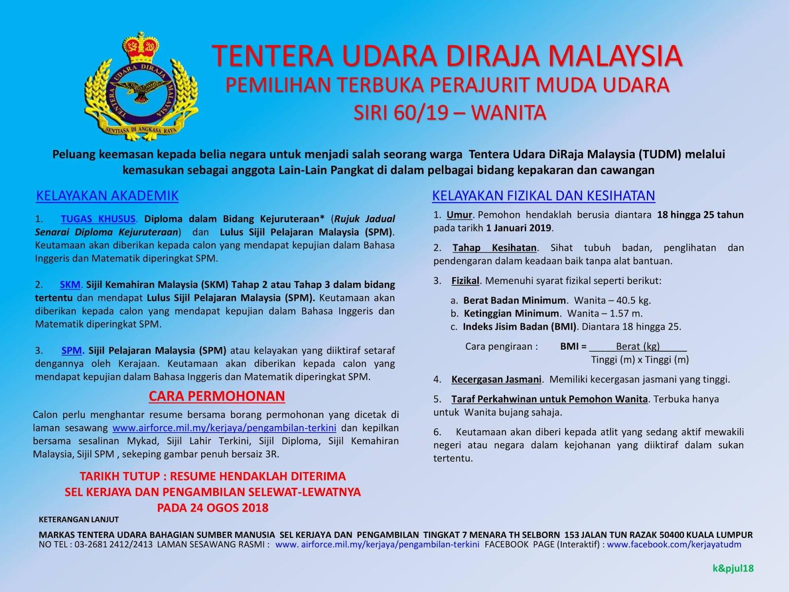 Pengambilan Perajurit Muda Wanita Tentera Udara Diraja Malaysia Tudm 24 Ogos 2018 Appjawatan Malaysia