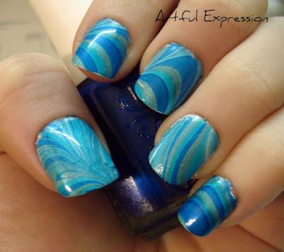 Model Laut biru nail art