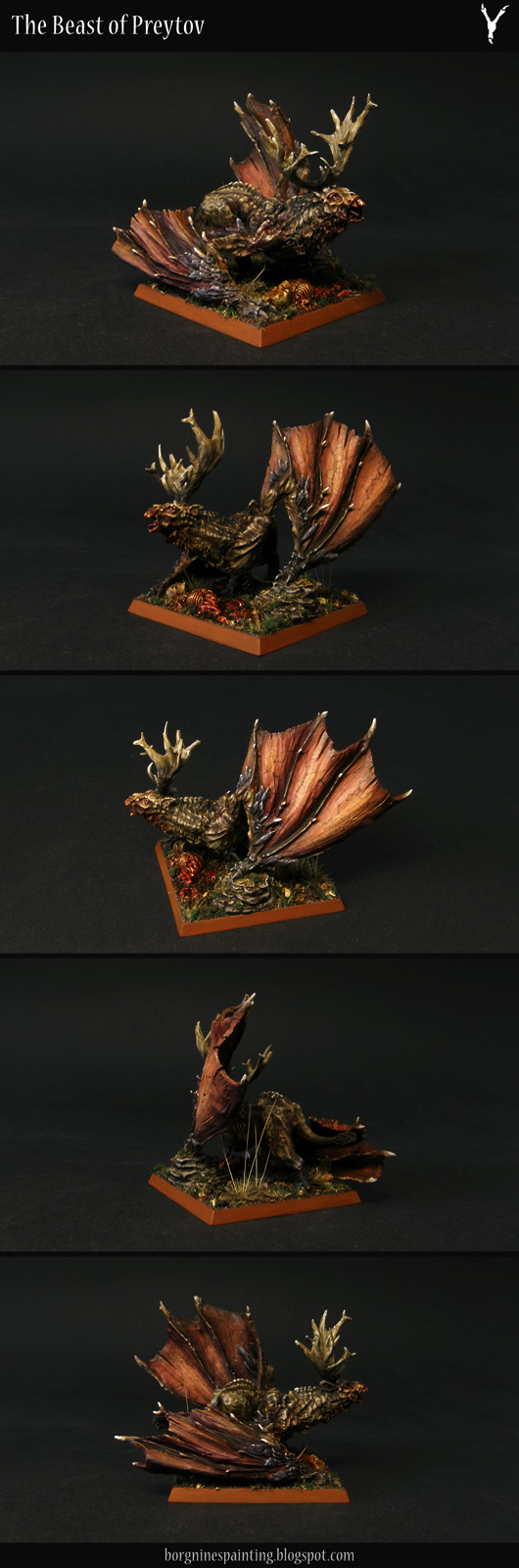 Preyton from Forge World, painted in dark and muted colors - a miniature winger monster usable in Warhammer Fantasy Battle (WFB) or Age of Sigmar (AoS).