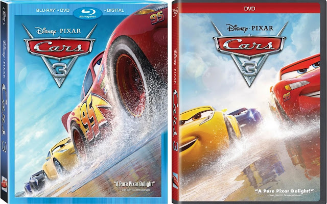 Cars 3 Blu-ray and DVD Cover artwork