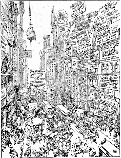 a Harry Grant Dart cartoon about outdoor advertising, a big detailed image