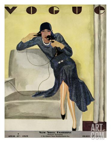 1929 Vogue illustrated image of a chic woman on the telephone