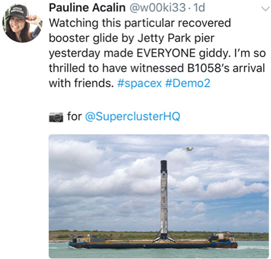 Falcon 9 First Stage on landing barge coming back into port (Source: Pauline Acalin)
